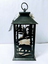 "12""H Lantern With Floral Accents And Bear With Trees Holiday Christmas Scene"