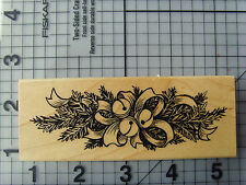 """PSX Wood Wood Mounted Rubber Stamp Perfect """"Jingle Bells Pine Branch Border"""""""