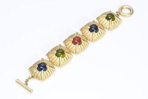 GIVENCHY Paris Gold Plated Multi Color Cabochon Glass Bracelet