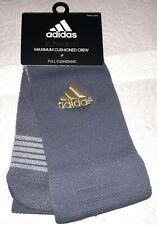 Adidas Alphaskin Maximum Cushioned Crew Socks 1 Pair Men 6.5-9 Grey Gold Logo