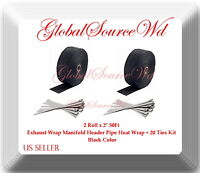 "Black 2 Roll x 2"" 50Ft Exhaust Wrap Manifold Header Pipe Heat Wrap + 20 Ties Kit"