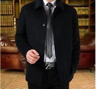 New Men Lapel Collar Short Coat Jacket Wool Cashmere Overcoat Winter Warm Casual