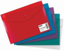 A6 Stud Wallets Plastic Document Folder Filing Storage Files - Pack of 5