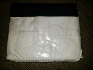 Ralph Lauren White Sateen Gardenia NIP Premium Full Flat Sheets