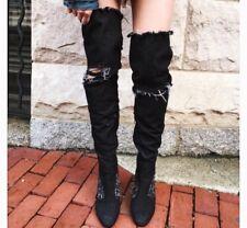 Jeffrey Campbell LIMITED EDITION Dark Denim Perouze Thigh High Boots SZ 6.5-NWOB