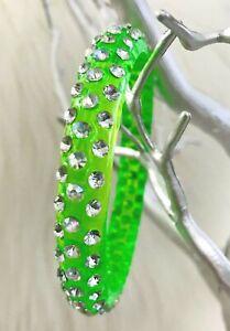 💋 New Basketball Wives Bracelet Bangle Lucite Rhinestone Bling Lime Green