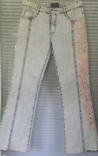 Fitelle Stone Bead Lace Embellished Blue Women's Stonewashed Denim Jeans Size 40