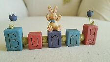 NEW BLOSSOM BUCKET EASTER BUNNY RABBIT SIGN w TULIPS EASTER FIGURE