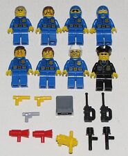 LEGO LOT OF 8 NEW TOWN POLICE SHERIFF COP MINIFIGURES BLUE TORSO AND BADGE FIGS