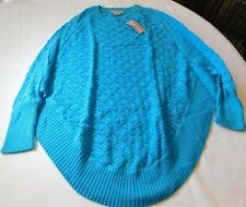 Nouveaux Women's Ladies Sweater Shirt Top Turquoise 3CZ52BA Size L large NWT