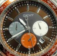 DKNY Date Glo Hands Military New Brown Leather Band 5atm New Batt Runs Men Watch