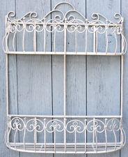 Shabby & Chic French Cream Metal 2 Tier Wall Planter Basket Shelf Rack Vintage