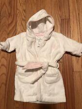 Polo Ralph Lauren Baby Girl Hooded Bath Robe One Size White Pink Stripe Trim