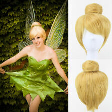 Tinker Bell Tinkerbell Wig Gold Blonde Bun Cosplay Wigs + Wig Cap