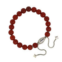 David Yurman 925 Sterling Silver 8mm Red Carnelian Spiritual Beads Bracelet