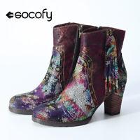 SOCOFY Women Leather Flowers Pattren Tasseled Ankle Boots High Heel Zipper Shoes