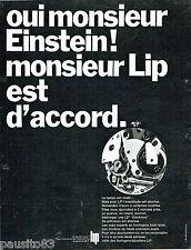 PUBLICITE ADVERTISING 115  1968  LIP montre Mr EINSTEIN