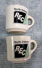 Pair REC North Dakota Rural Electric Cooperative Pottery Coffee Mug Cup FREE S/H