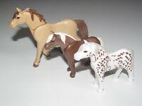 Playmobil Animal Lot Cheval Beige + 2 Poney Marron & Blanc NEUF
