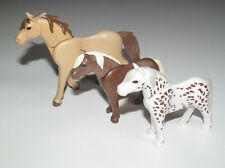 Playmobil Animal Lot Cheval Beige + 2 Poney Marron & Blanc NEUF