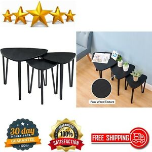 Black Nesting-Tables Living Room Coffee Table Sets of 3 Stacking End Side Tables