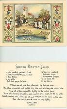 VINTAGE FARM COTTAGE HOUSE GARDEN GEESE SWEDISH POTATO SALAD RECIPE CARD PRINT