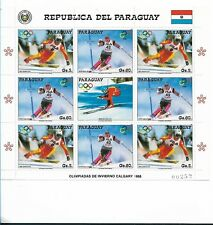 PARAGUAY 1987, OLYMPIC WINTER SPORT GAMES, SKI, CALGARY 88,  FULL SHEET MNH