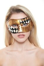Vintage Venetian Masquerade Mask with Black and Gold Checkers