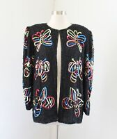 Vtg 80s 90s Black Butterfly Silk Beaded Sequin Evening Party Jacket Size XL