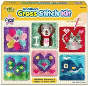 Kids 6 in 1 Traditional Cross Stitch Kit 6 Childrens Designs Tapestry Sewing Set