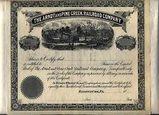 Arnot & Pine Creek Railroad Stock Certificate Blossburg Pennsylvania