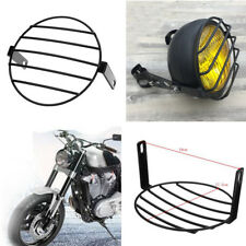 "7"" Motorcycle Bike Retro Headlight Mesh Grill Cover Protector Guard Black Metal"