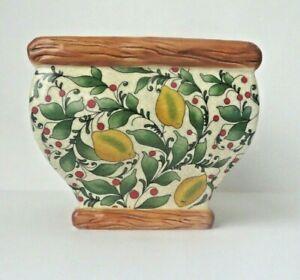 Pacific Rim Hand Painted Lemon Berry Print Square Planter