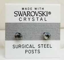 Light Crystal Made with Swarovski Elements Smoky Gray Oval Stud Earrings 6mm