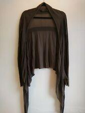 Ladies All Saints Shadow Cardigan Size UK 6 Brown Fine Knit Waterfall Draped