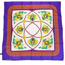Authentic CELINE Logos Scarf Handkerchief 100% Silk Purple Italy Vintage 06V1604
