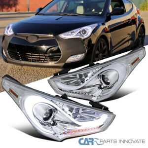 For 12-17 Hyundai Veloster Clear LED Sequential Signal Projector Headlights Pair