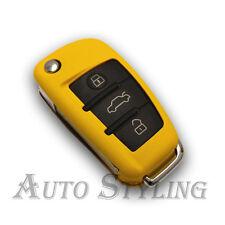Audi Amarillo Remoto Flip clave Funda Protectora Skin Shell Pac fob protección Bolsa Casco 58