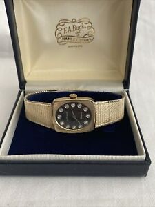 Rare Vintage Wittnauer Geneve Gold Diamond Ladies Wristwatch