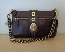 Coach 13756 Legacy Leather Turnlock Chain Clutch Mahogany Brown Handbag NEW
