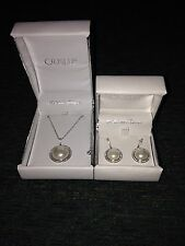 Crislu Sterling Platinum Pearl Earrings and Necklace Set
