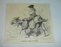 small 1878 magazine engraving ~ PEASANT GOING TO TOWN, Spain
