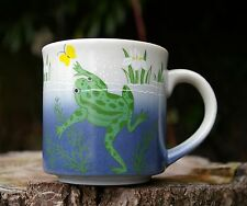 Frog Pond Butterfly Blue Green Coffee Mug Cup