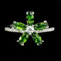 Unheated Marquise Green Chrome Diopside White Cz 925 Sterling Silver Ring