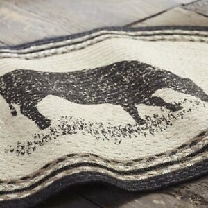 VHC Brands Sawyer Mill Farmhouse Charcoal Cow Jute Oval Rug w Non-slip Pad 20x30