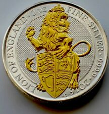 2016 2oz Royal Mint Queen's Beasts .999 Gilded Silver Coin