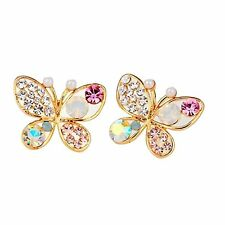 GirlZ!Fashion sweet pearl and crystals hollow out butterfly earrings