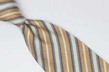 Altea Milano Silk Cotton Neck Tie Brown Light Blue Ivory Stripe Twill Weave Spot