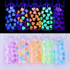1g Fluorescent Glitter Nail Sequins 4mm Heart Shape Nail Flakies Paillette Tips