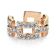 Brass Rose Gold Rhodium Plated Square Links Paved CZ Non-Piercing Ear Cuff